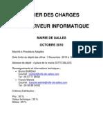 Cahier Des Charges Projet Baie Serveur Mairie de Salles Octobre 2010