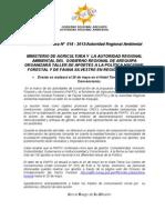 BOLETIN DE PRENSA 019 - 2013TALLER POLÍTICA NAC. FORESTAL Y DE FAUNA SILVESTRE 2