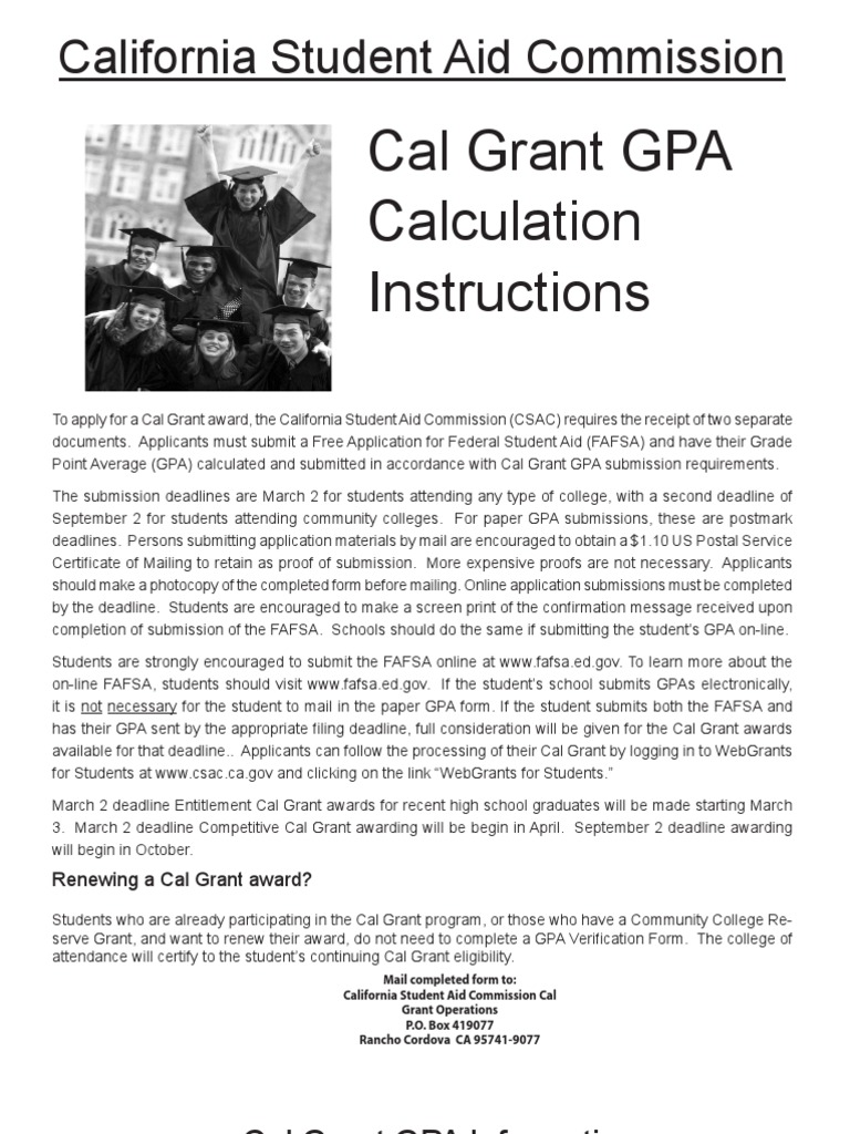 Cal Grant Calculation Course Credit Grading Education
