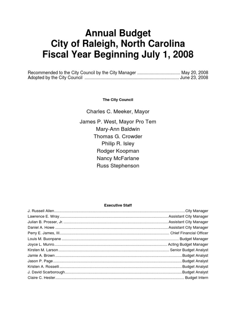 2008 2009 Adopted Budget Raleigh | Euro | Taxes