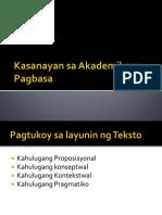 Kasanayan Sa Pagbasa