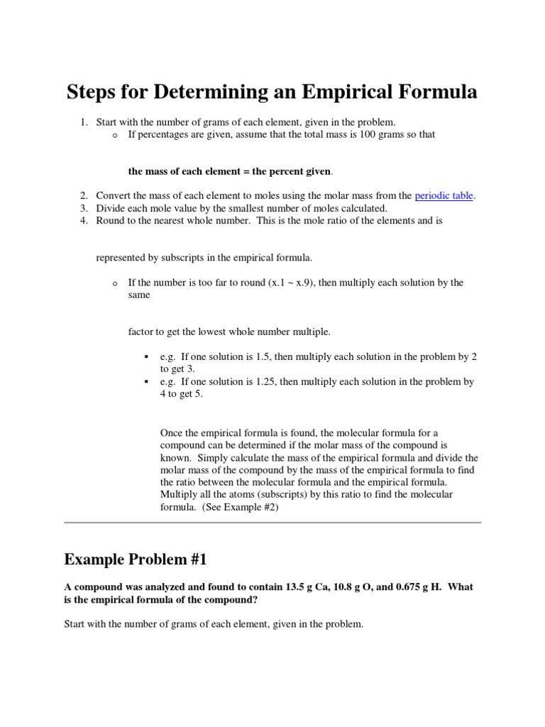 Steps For Determining An Empirical Formula Mole Unit Formula