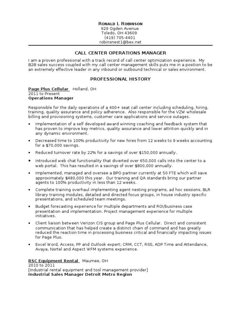 call center operations manager resume  call centre
