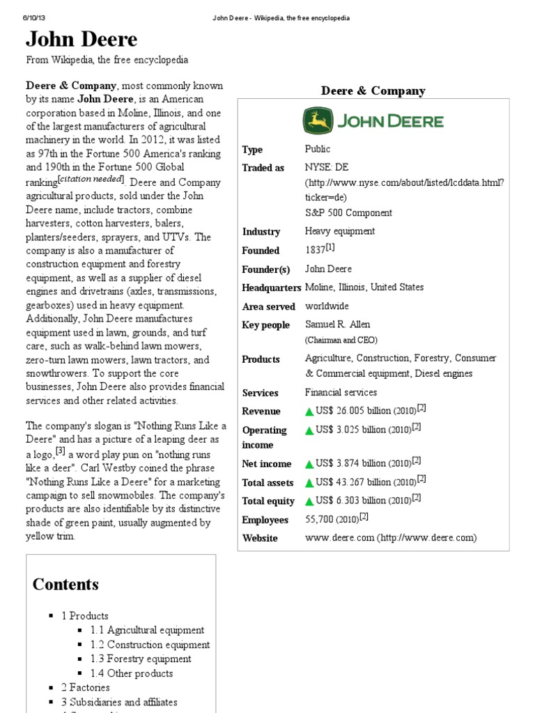 John Deere Wikipedia >> John Deere Wikipedia The Free Encyclopedia Tractor
