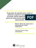 Propuesta de estudio para medir el esfuerzo cognitivo necesario para procesar textos especializados por parte de traductores especializados y especialistas