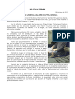 08/05/12 Germán Tenorio Vasconcelos atiende 140 Urgencias Diarias Hospital General