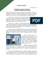 17/05/12 Germán Tenorio Vasconcelos mantiene Sso Vigilancia Sanitaria Para Detectar Productos Milagro