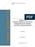 Program on Economic Agendas in Civil Wars: Principal Research Findings and Policy Recommendations