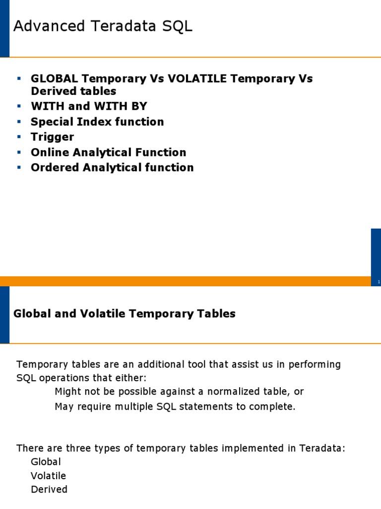 Teradata-Advanced-SQL-Part1 pdf | Database Index | Sql