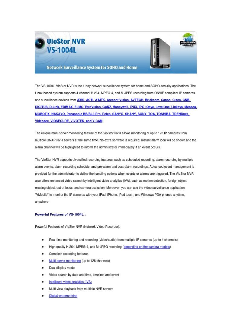 Qnap vs-1004l Spec | Surveillance | File Transfer Protocol
