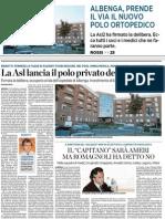 Il Secolo XIX_14.05.11_Albenga, Prende Il via Il Nuovo Polo Ortopedico_pg.19 e 25