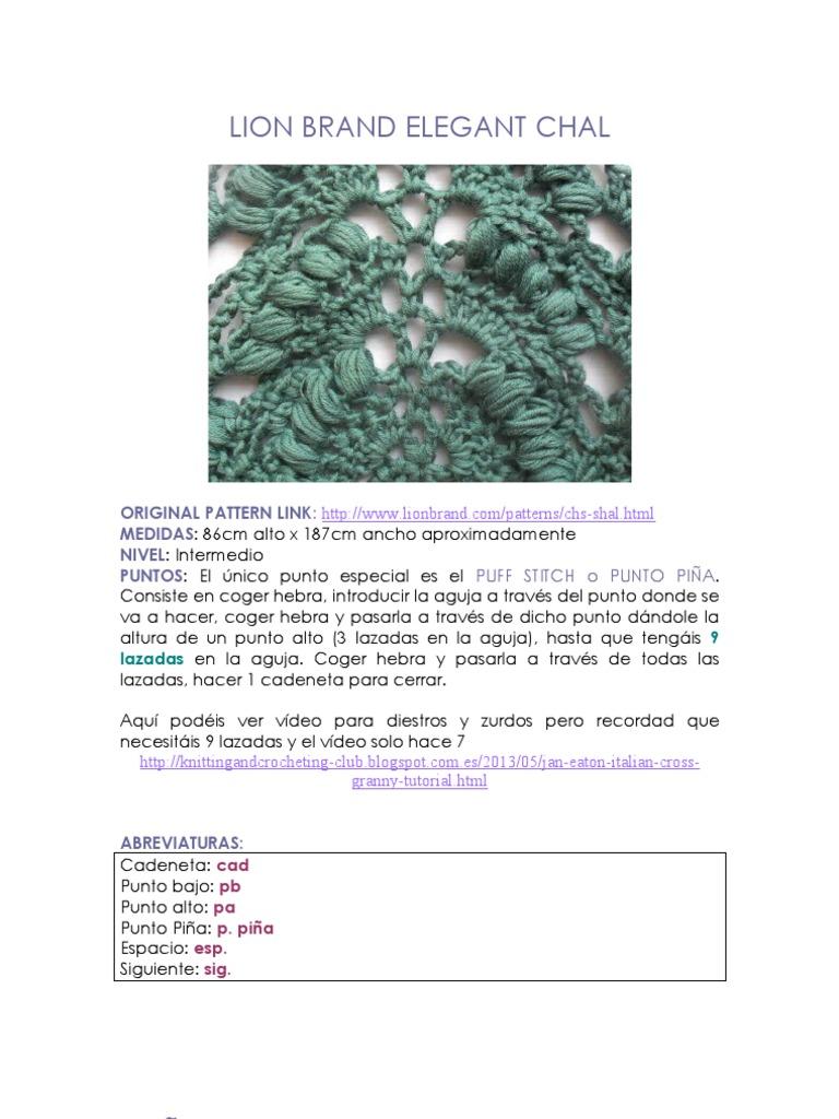 Tutorial LION BRAND ELEGANT SHAWL (ESPAÑOL)