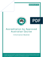 Accreditation by Approved Australian Course Booklet