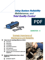 Unit IV - Maintenance, System Reliability & TQM