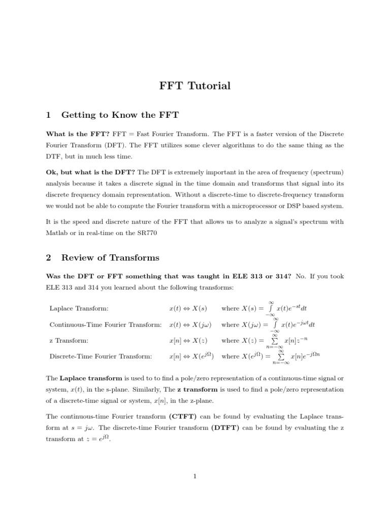 Fft   Discrete Fourier Transform   Fast Fourier Transform