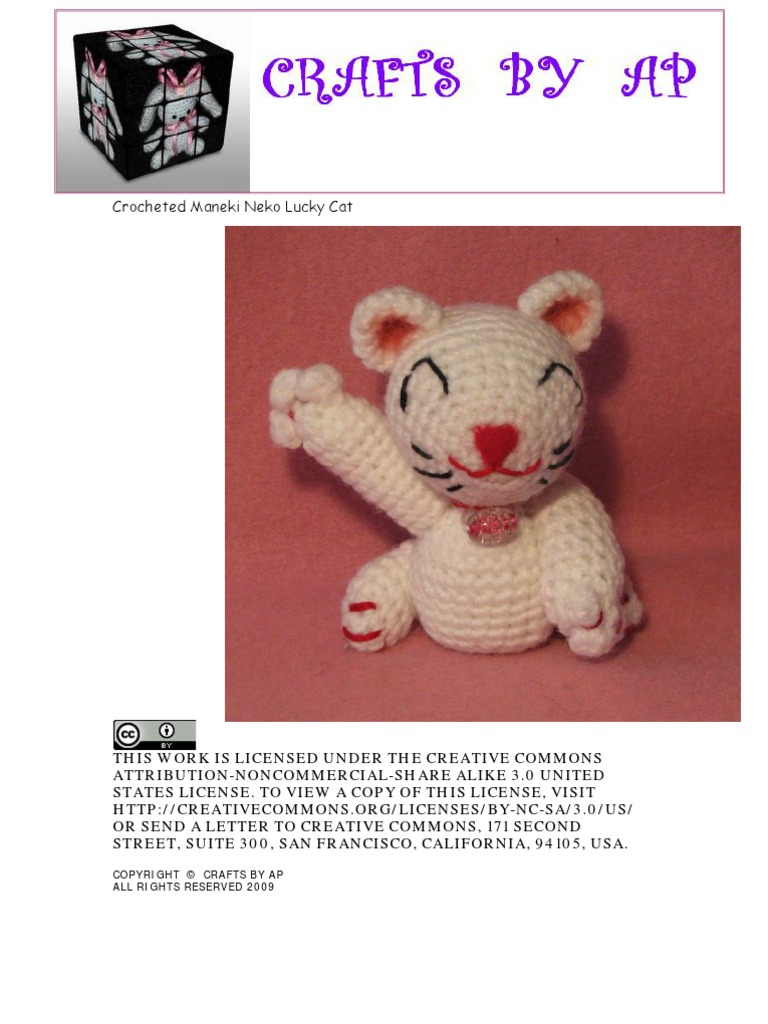 PDF Pattern - Amigurumi Maneki Neko (Lucky Cat) Pattern | Cat ... | 1024x768