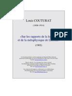 Couturat Leibniz Logique Et Metaphysique
