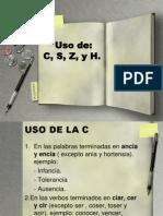 Uso de Grafias c, s, z, h