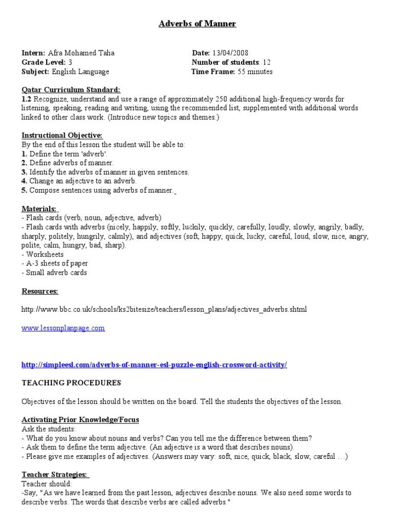 Adverbs of Manner Lesson Plan   PDF   Adverb   Verb