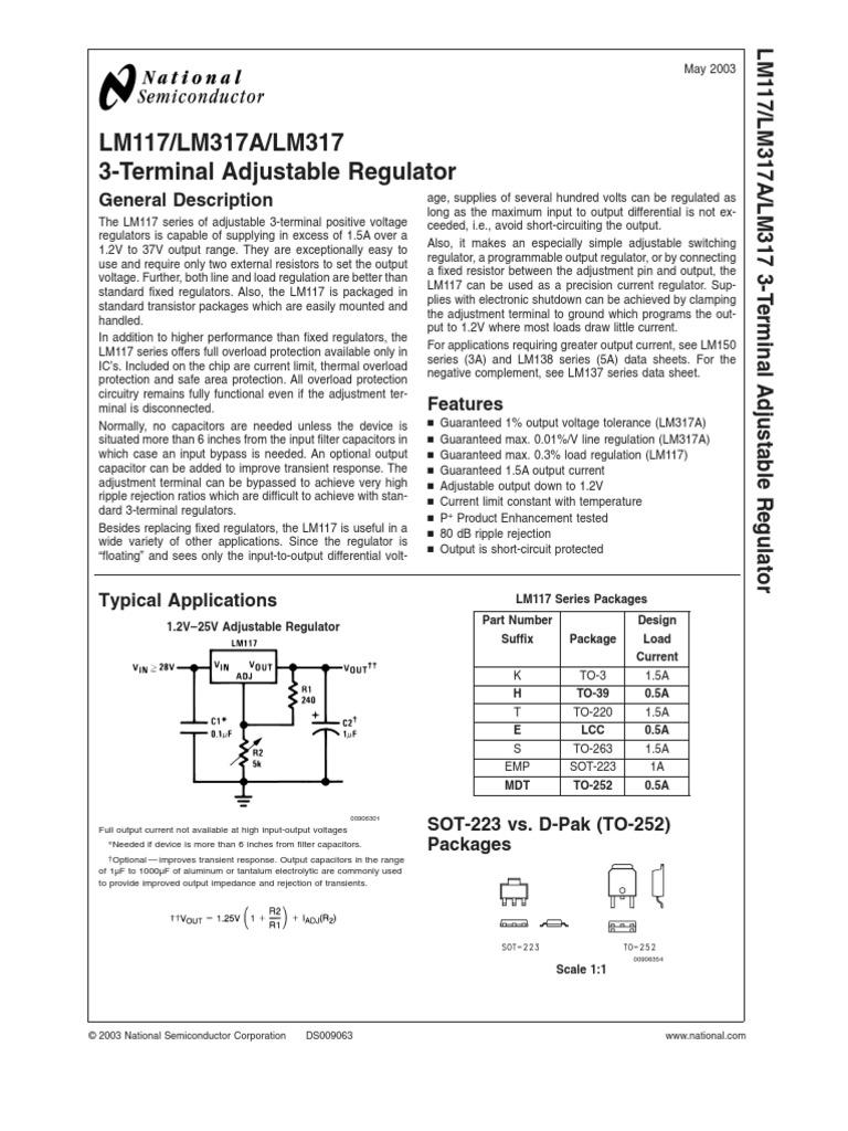 Lm317mp Capacitor Power Supply Lm317 Adjustable Voltage Regulator