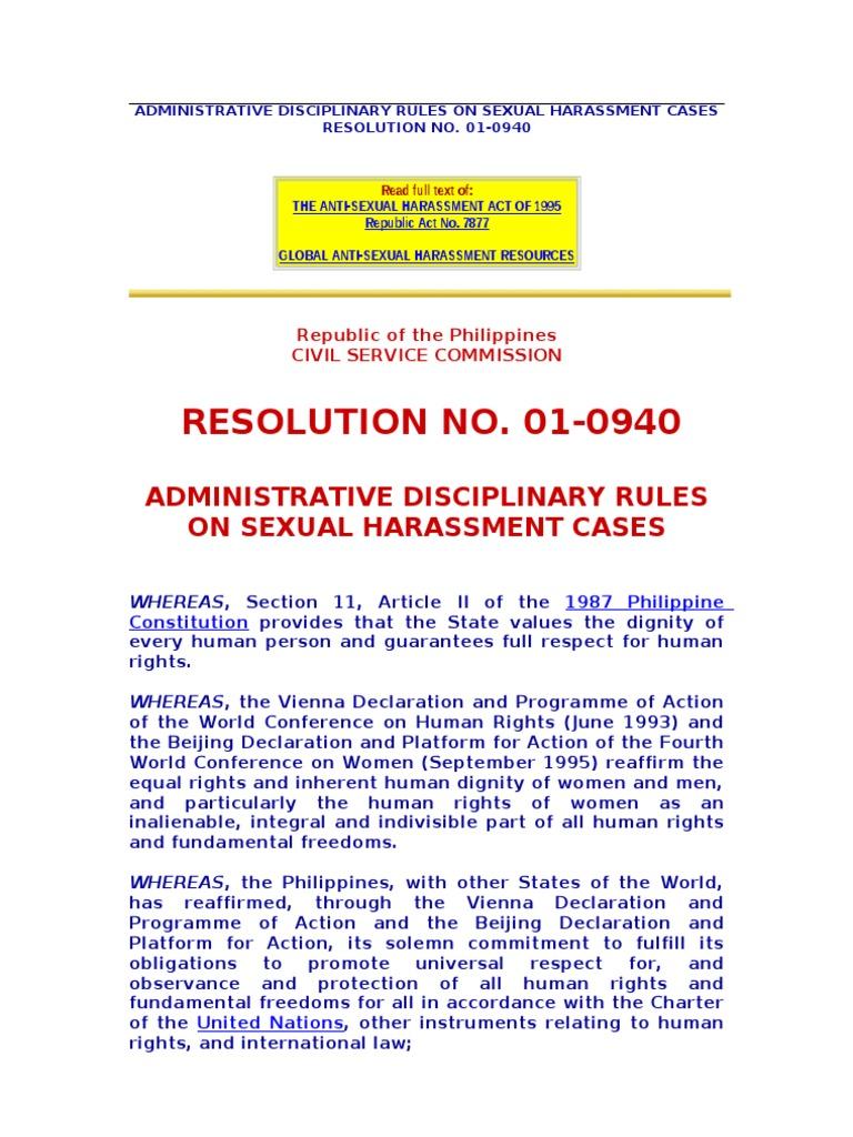 International laws on sexual harrassment