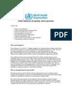World Health Organization -- Swine Flu FAQ (April 26, 2009)