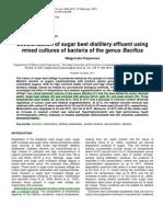Decolorization of Sugar Beet Distillery Effluent Using