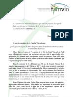 FOI -  Le Lettre du Supérieur Général de la Congrgation de la Mission