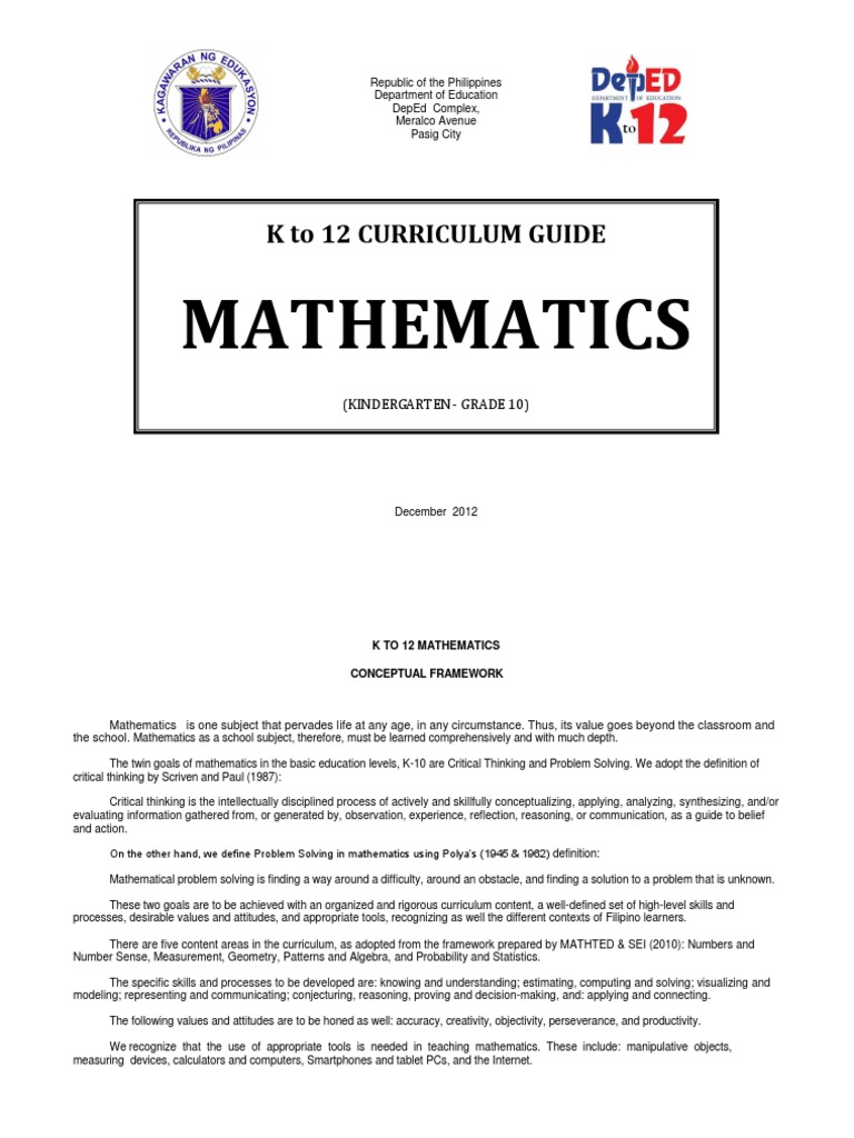 K-12 Mathematics Curriculum Guide (Complete) | Multiplication ...