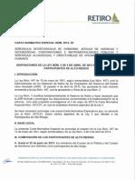 Carta Normativa Especial RETIRO 2013-02 Personal Alto Riesgo
