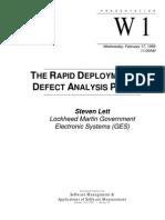 Deploying Defect Analysis