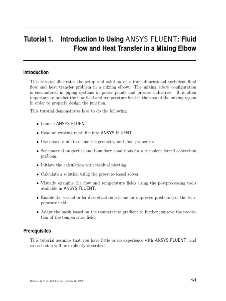 Fluent Tutorial 1 - Fluid Flow and Heat Transfer in a Mixing