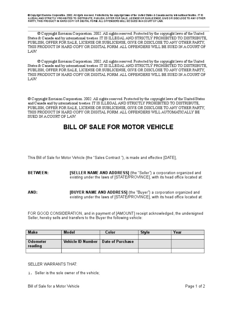 bill of sale for a motor vehicle bill of sale copyright