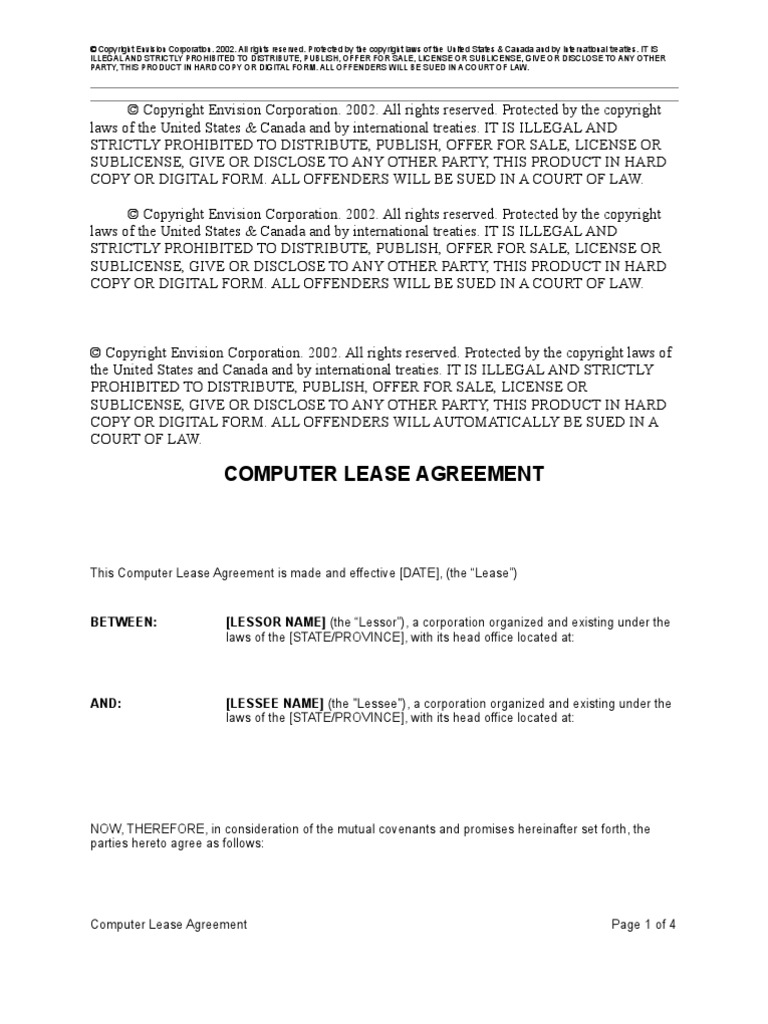 Computer Lease Agreement Lease Copyright