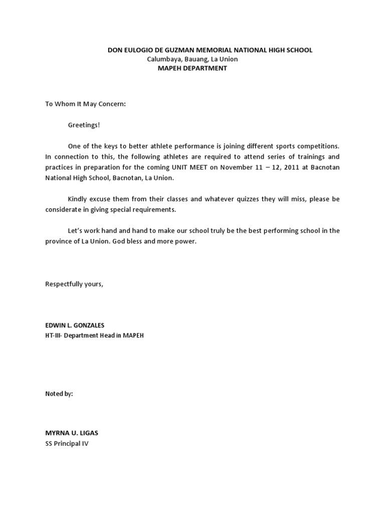 Excuse letter intramscx altavistaventures Choice Image