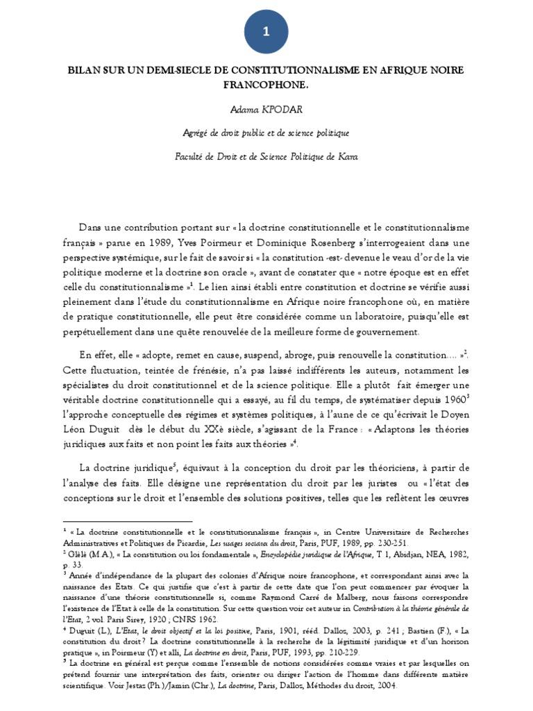 constitutionnalisme et etat de droit dissertation