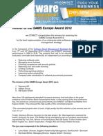 Review SAMS Europe Award 2012