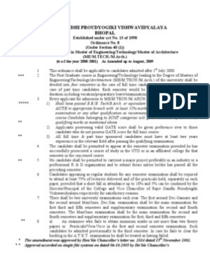 Ordinance 8 ME MTech RGPV | Postgraduate Education