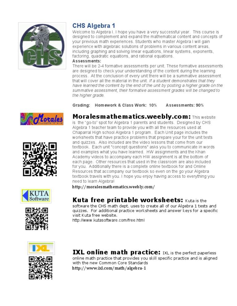 btsn algebra 1 web resources flyer   Educational Assessment   Algebra