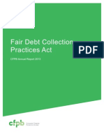 Fair Debt Collections Practices Act, CFPB Annual Report 2013
