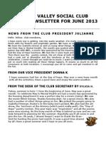 June 2013 Newsletter