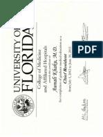Aunali Khaku, MD, Neurology Residency Chief Resident Certificate, University of Florida