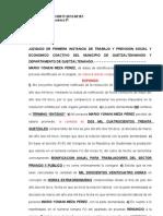 Subsanando Previo Del Caso Laboral de Mario Yovani Meza Perez