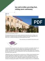 Anatolian Universities Growing Fast