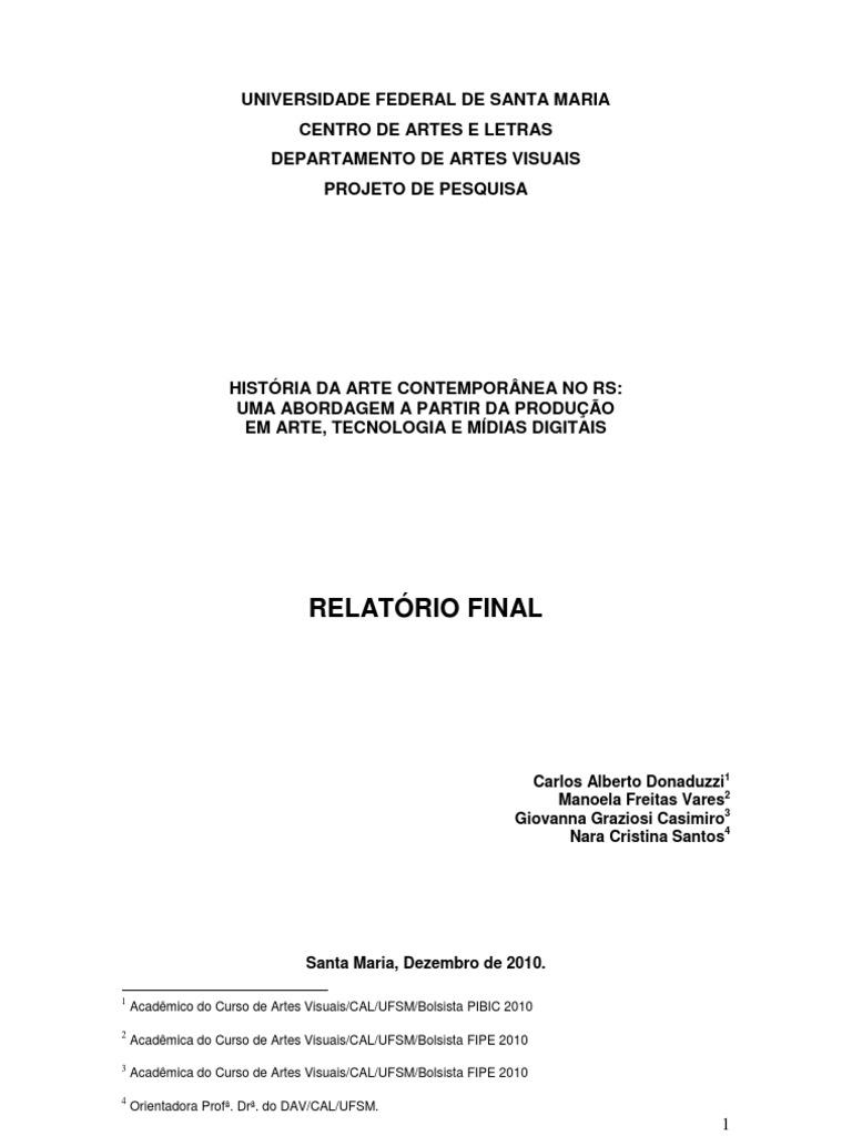 História da Arte Contemporânea no RS - Relatório Final