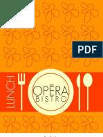 New Opera Bistro Lunch Menu