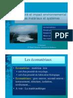 Efficacite Et Impact Environnemental Des Materiaux Et Systemes