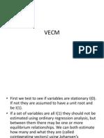 VECM Vector Error COrrection model