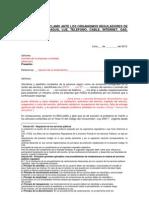 Modelo de Reclamo Ante Los Organismos Reguladores de Servicios de Agua