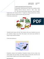 Rantai makanan, jaring-jaring makanan, piramida makanan, siklus karbon, siklus posfor, dan siklus nitrogen